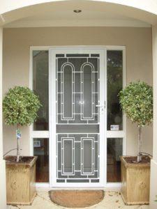 decorative white security door