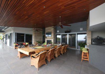home security doors in outdoor dining area
